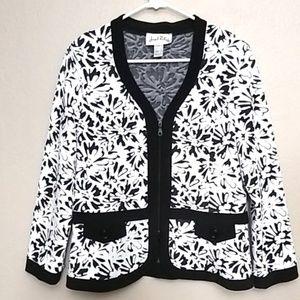 Joseph Ribkoff B&W Floral Zip Jacket - 14